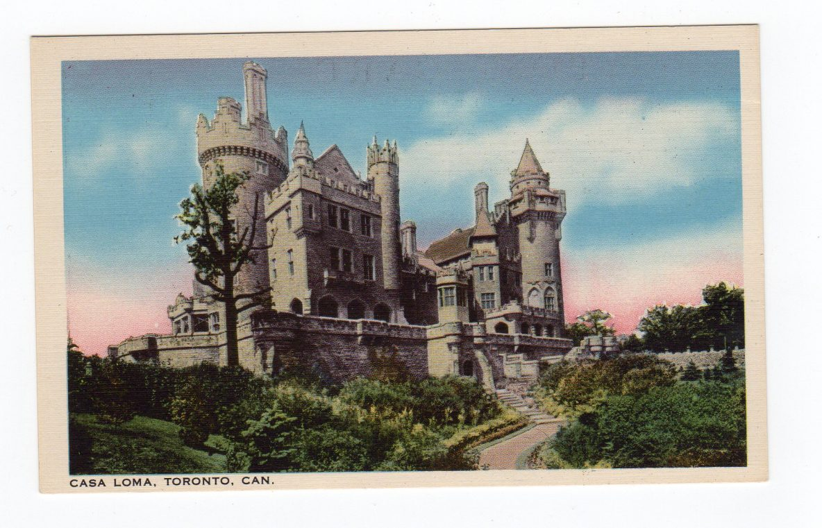 Linen postcard casa loma toronto canada feudal mansion for Casa loma mansion toronto