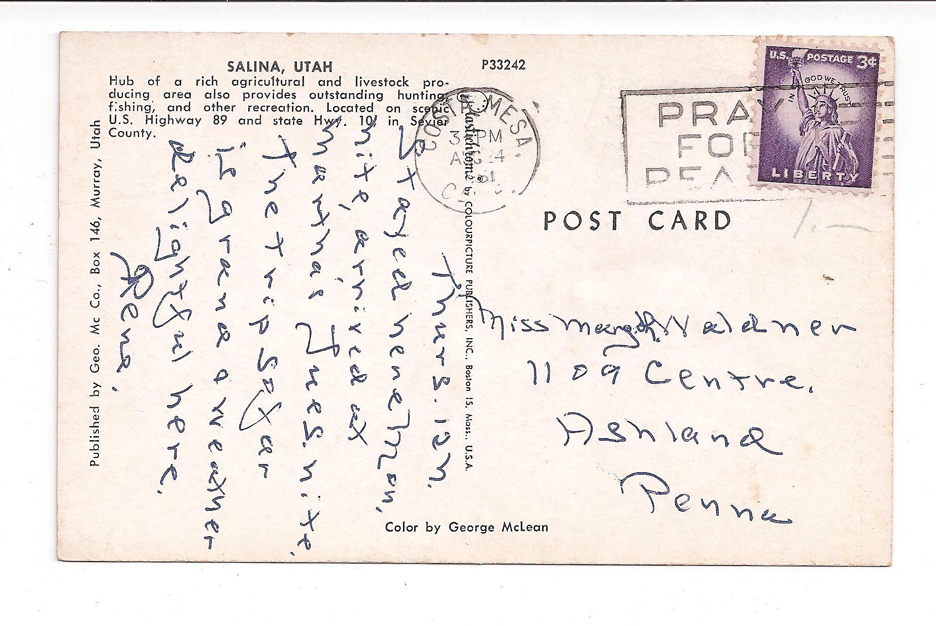 Chrome postcard greetings from salina utah 1961 salina kodak chrome postcard greetings from salina utah 1961 salina kodak supplies t power co cars m4hsunfo