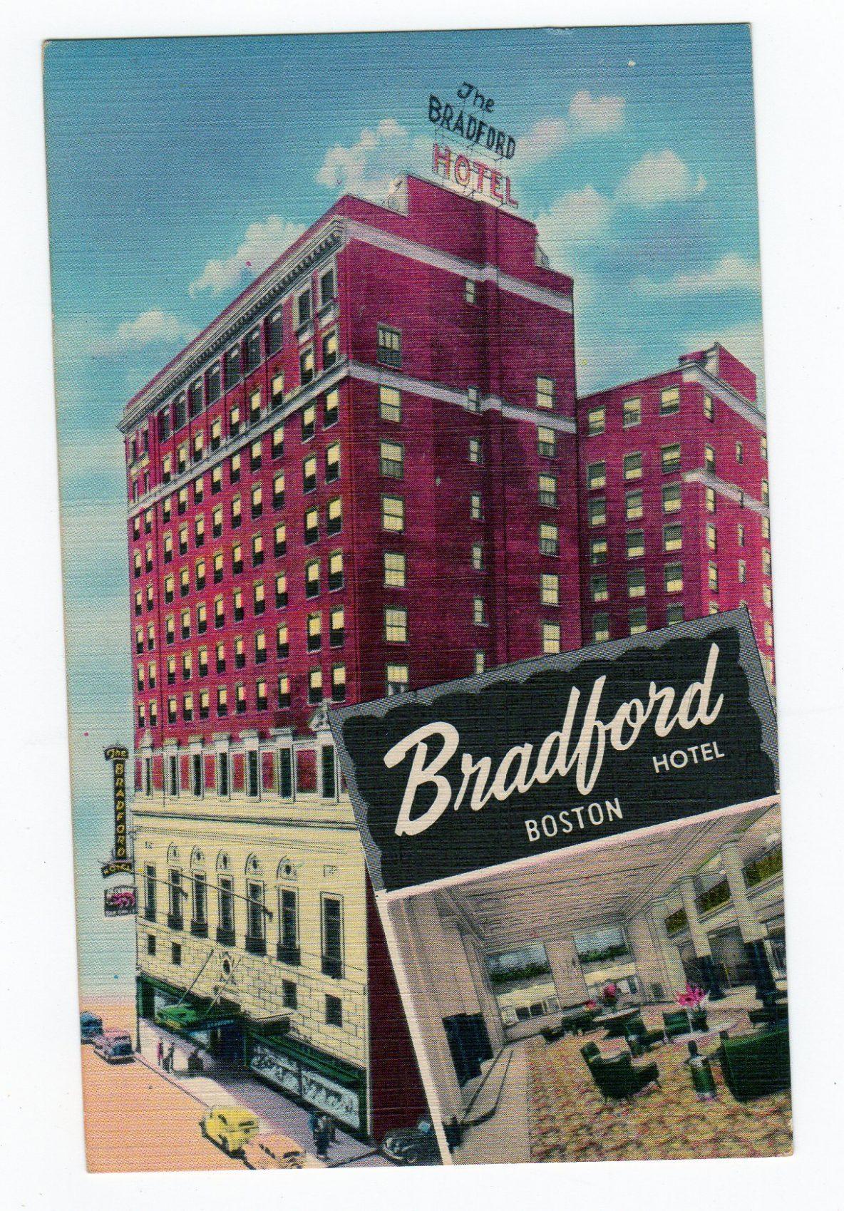 Linen Postcard The Bradford Hotel Boston Massachusetts