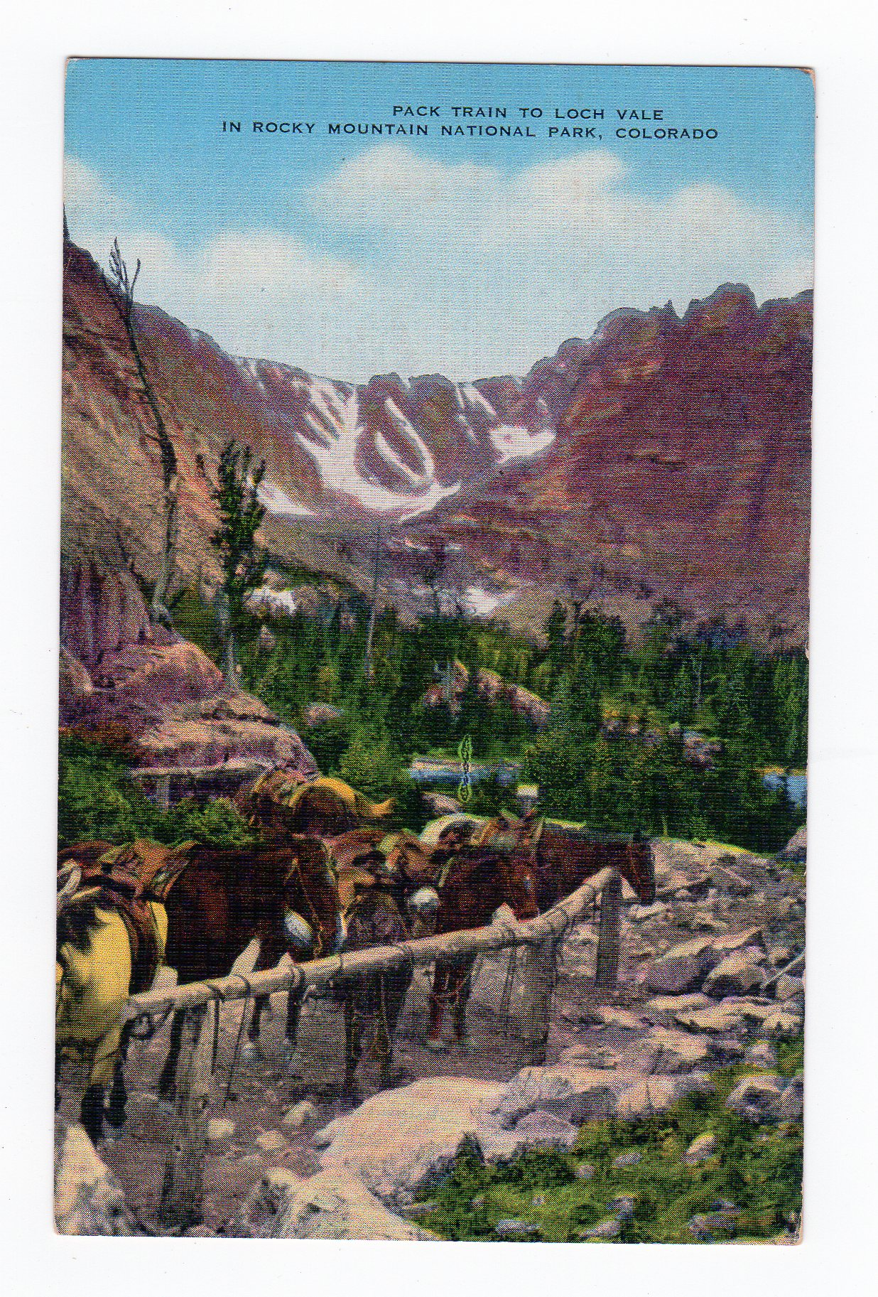 Linen postcard  Pack Train to Loch Vale in Rocky Mountain National Park   Colorado