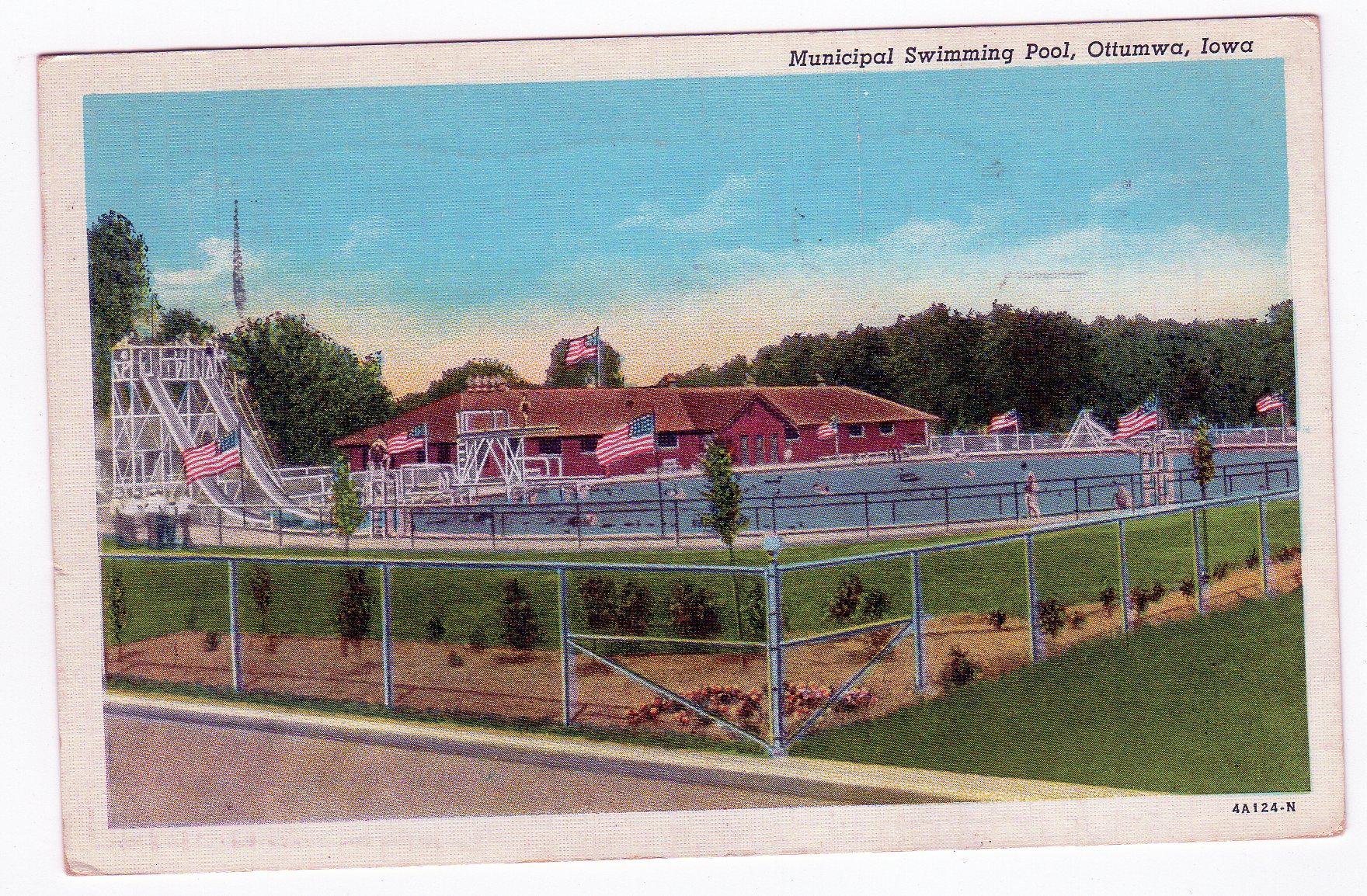 Linen postcard municipal swimming pool ottumwa iowa - Decorah municipal swimming pool decorah ia ...