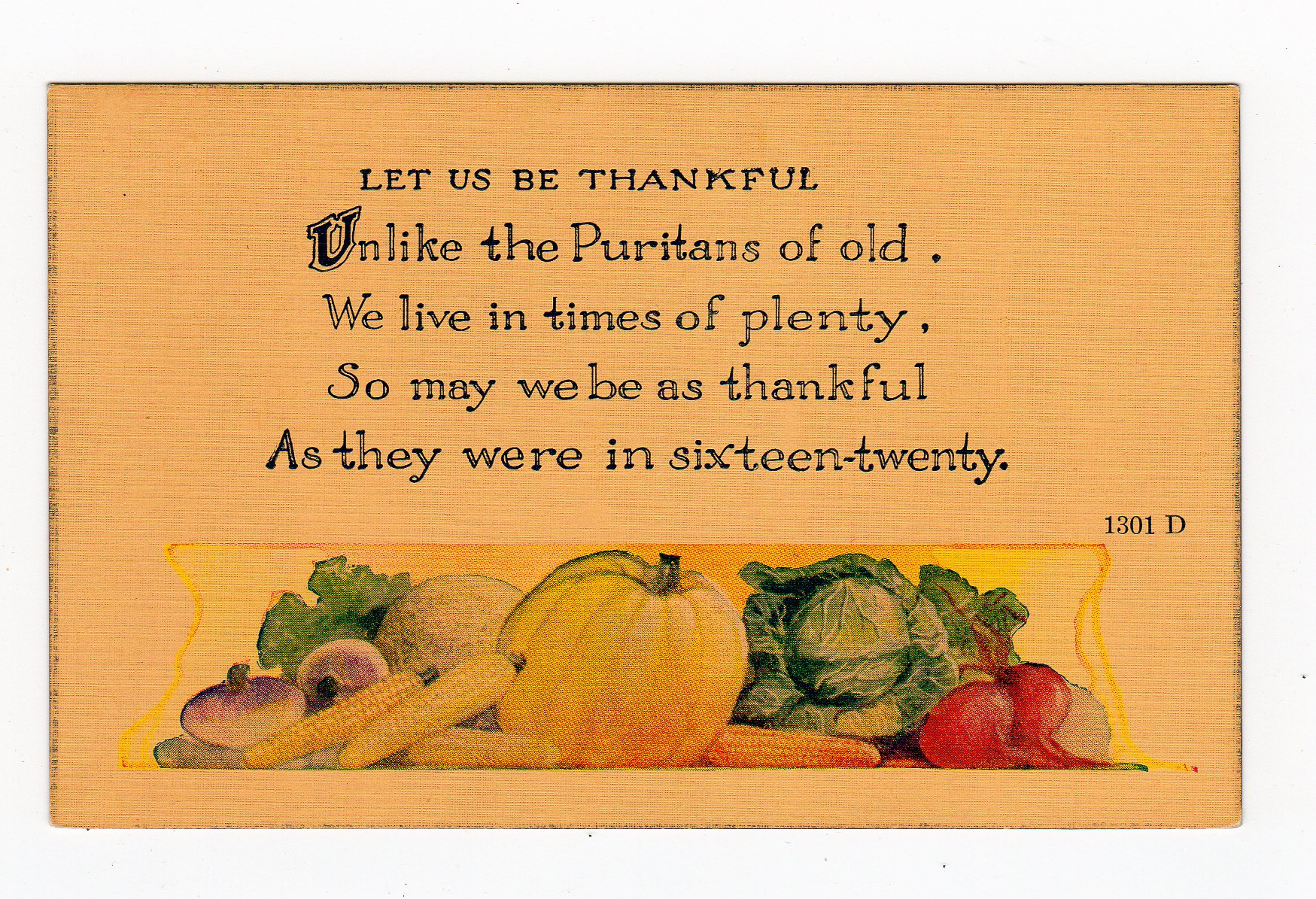 Linen Postcard Thanksgiving Let Us Be Thankful Unlike The Puritans