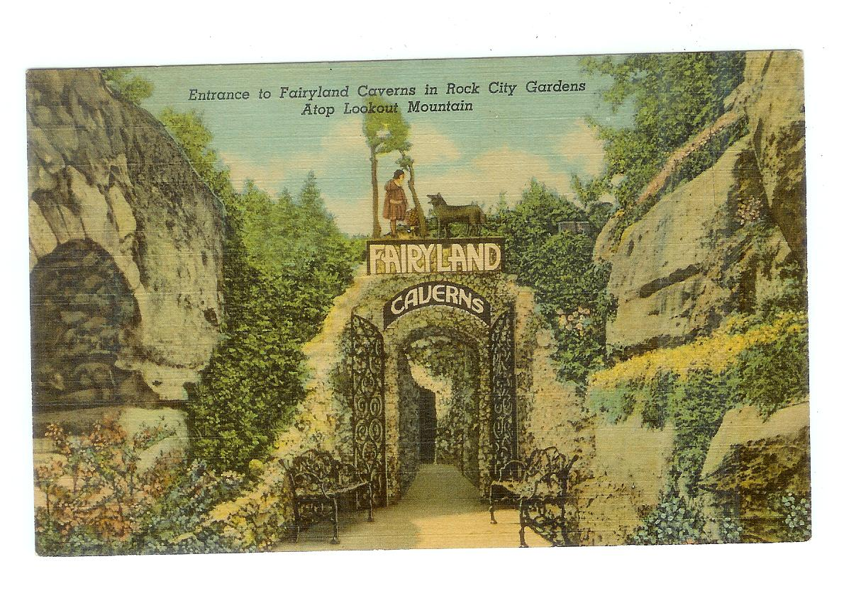 Linen Postcard Entrance To Fairyland Caverns In Rock City