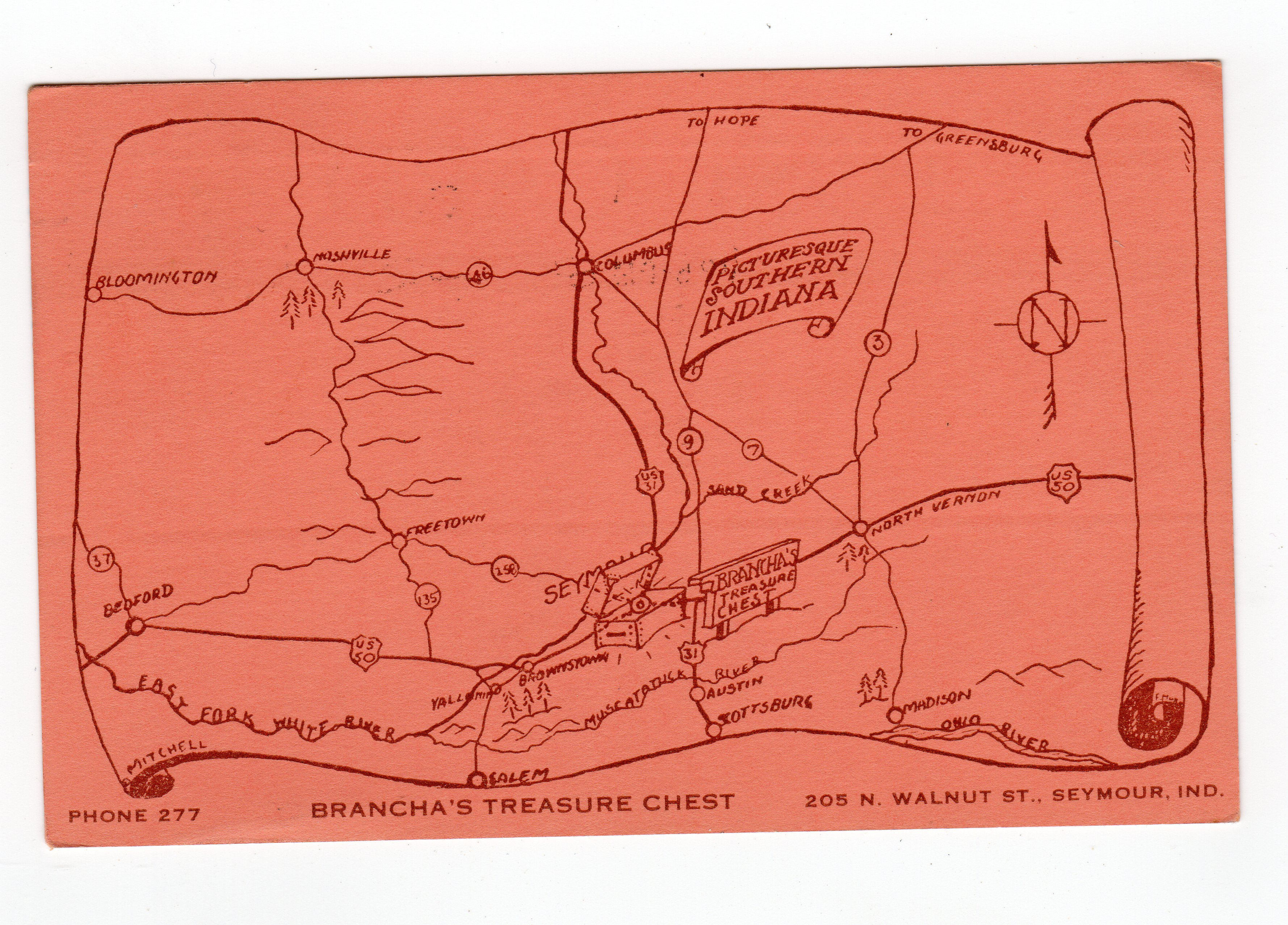 Postcard. Brancha\'s Treasure Chest, 205 N Walnut St, Seymour, Indiana.  1942. Picturesque Southern Indiana. Map.