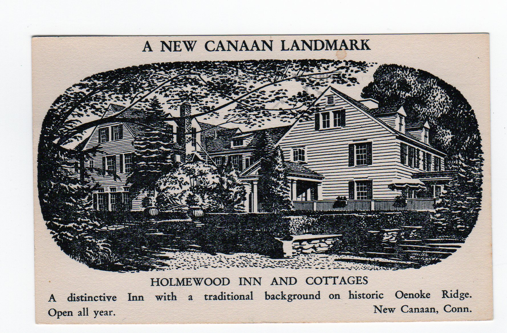 Postcard A New Canaan Landmark Holmewood Inn And
