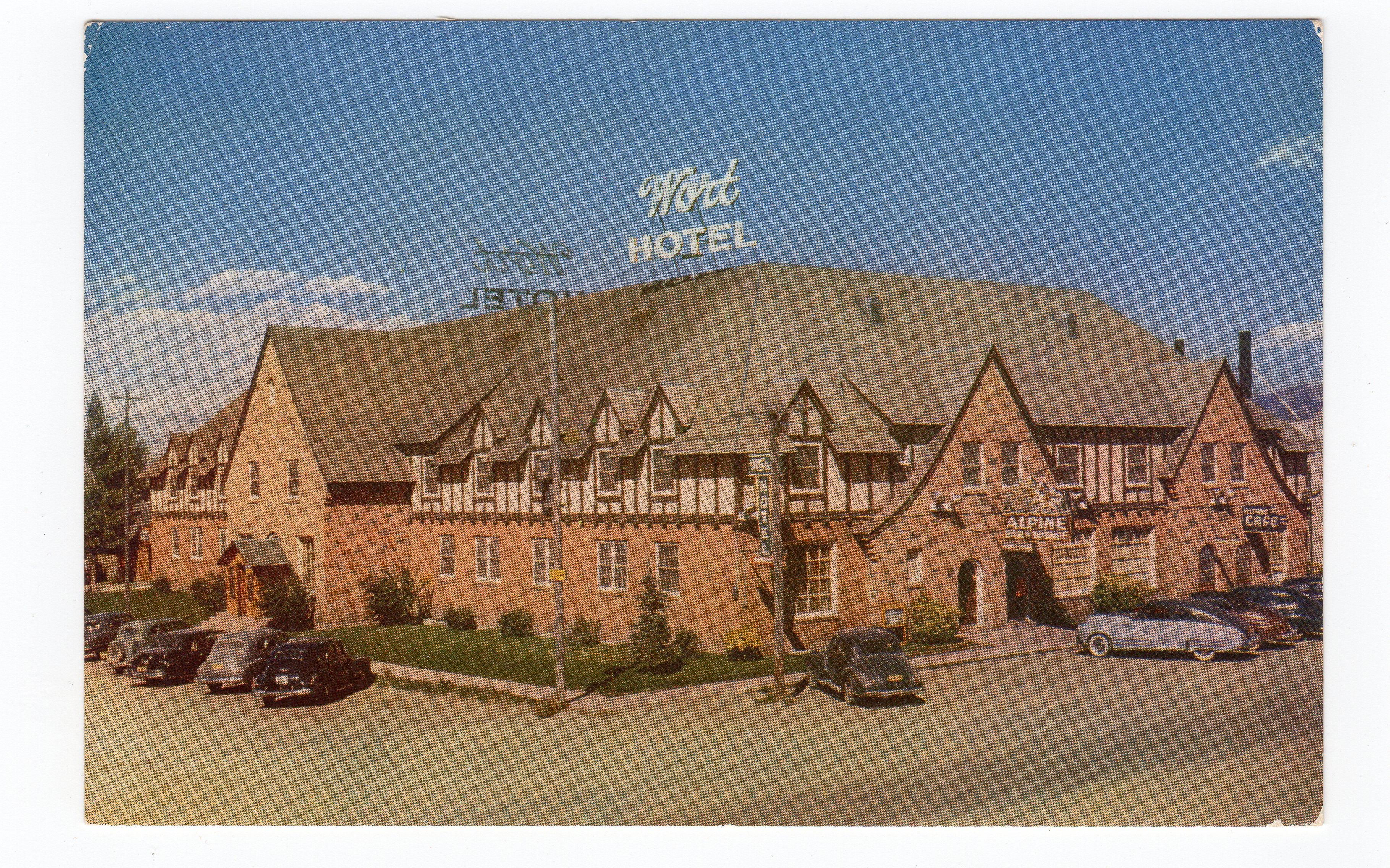 Chrome postcard  Wort Hotel, Jackson, Wyoming  Old cars