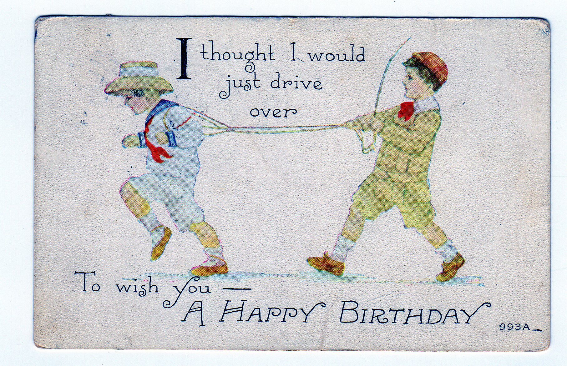 Product categories birthday greetings jackies vintage postcards old postcard i thought i would just drive over to wish you a happy birthday 1914 boys kristyandbryce Image collections