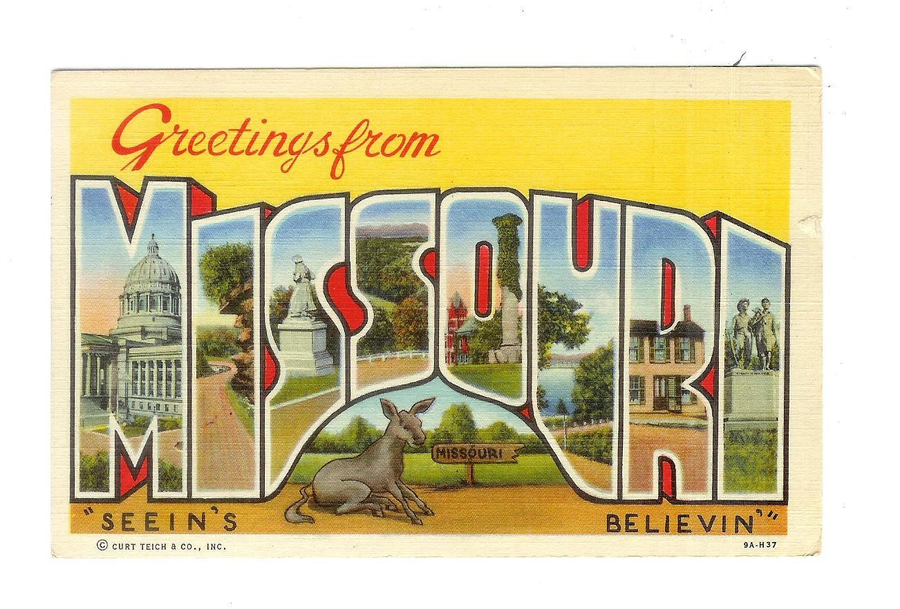 Linen Postcard Greetings From Missouri Large Letter Seeins