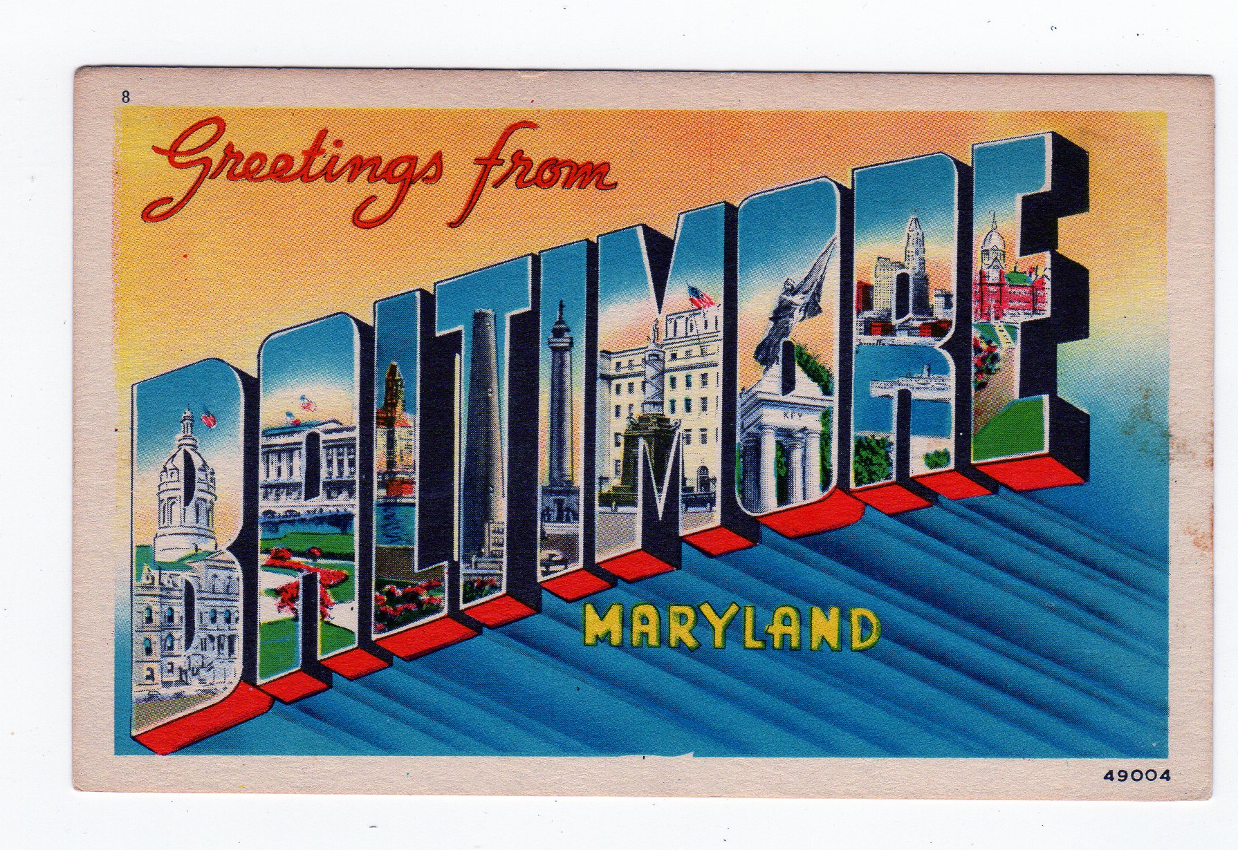 White Border Postcard Greetings From Baltimore Maryland Large