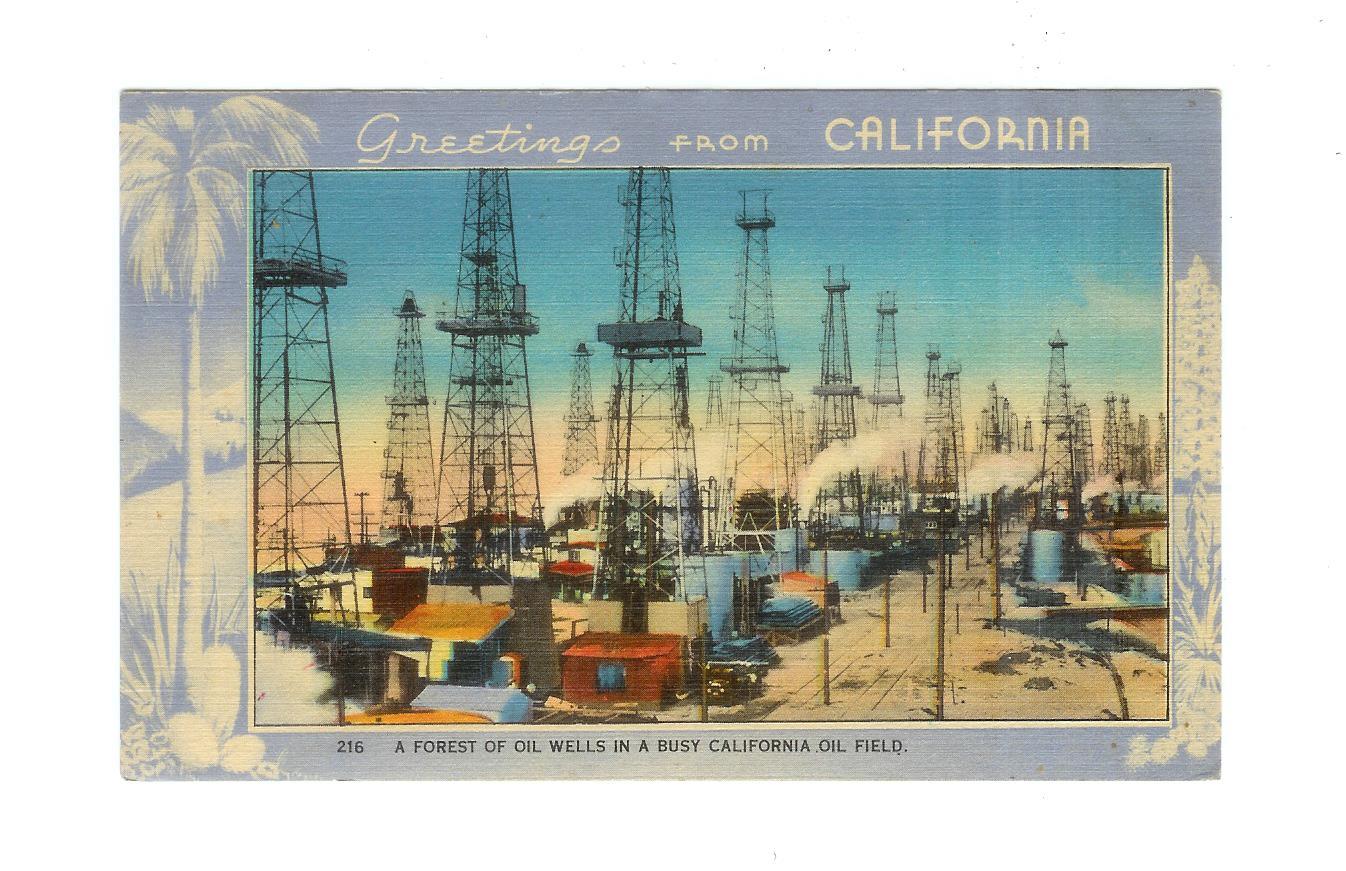 Linen postcard greetings from california a forest of oil wells in linen postcard greetings from california a forest of oil wells in a busy california oil field m4hsunfo