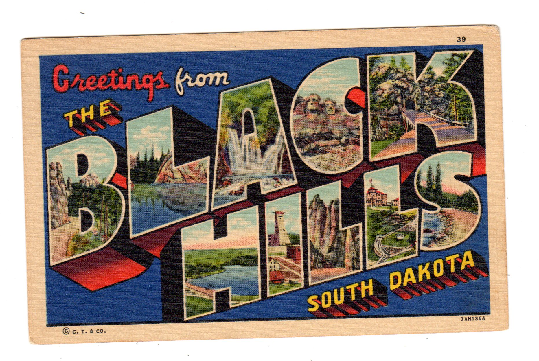 Linen Postcard Greetings From The Black Hills South Dakota Large