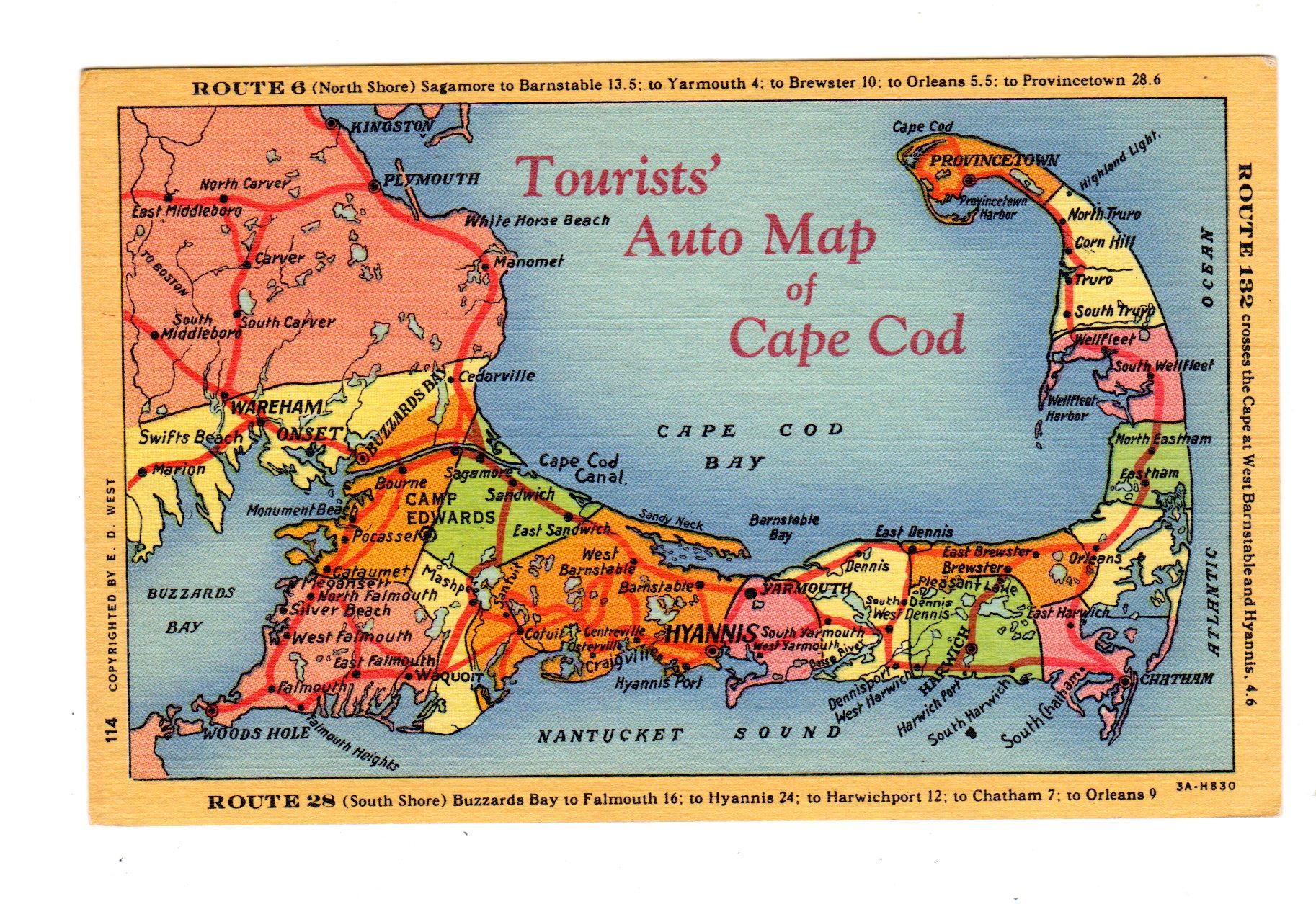 tourist auto map of cape cod massachusetts. linen postcard tourist auto map of cape cod massachusetts