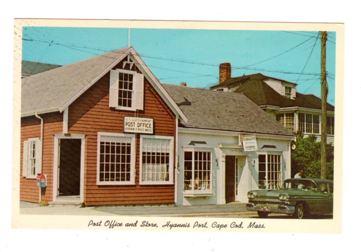 Stupendous Postcard Post Office And Store Hyannis Port Cape Cod Massachusetts President Kennedy Frequent Customer Home Interior And Landscaping Spoatsignezvosmurscom