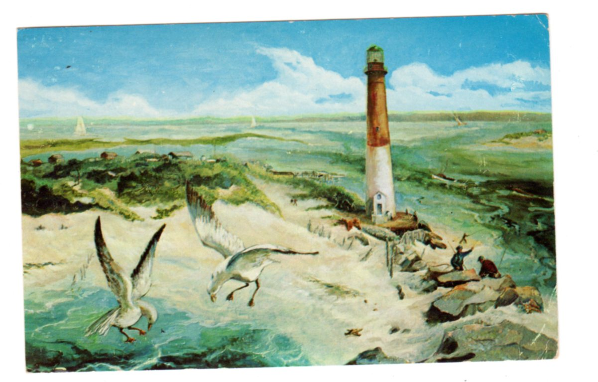 Chrome postcard  Barnegat Lighthouse  Reproduction of oil painting by  Marion Raymond Rich  Barnegat Light, New Jersey  1959