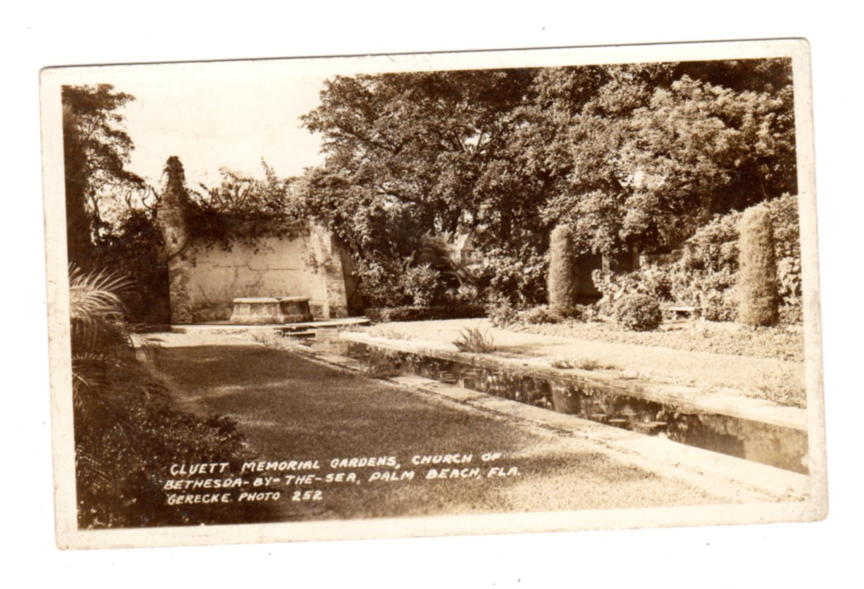 Real photo postcard. Cluett Memorial Gardens, Church of Bethesda-by ...
