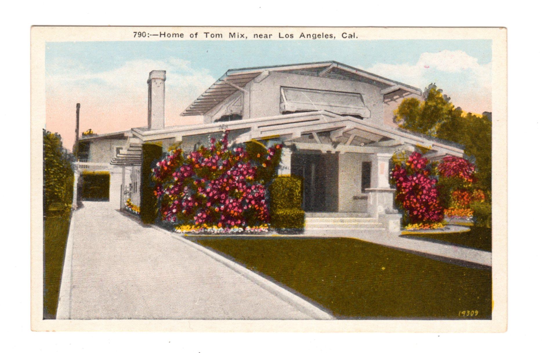 Linen postcard. Home of Tom Mix, near Los Angeles, California ...