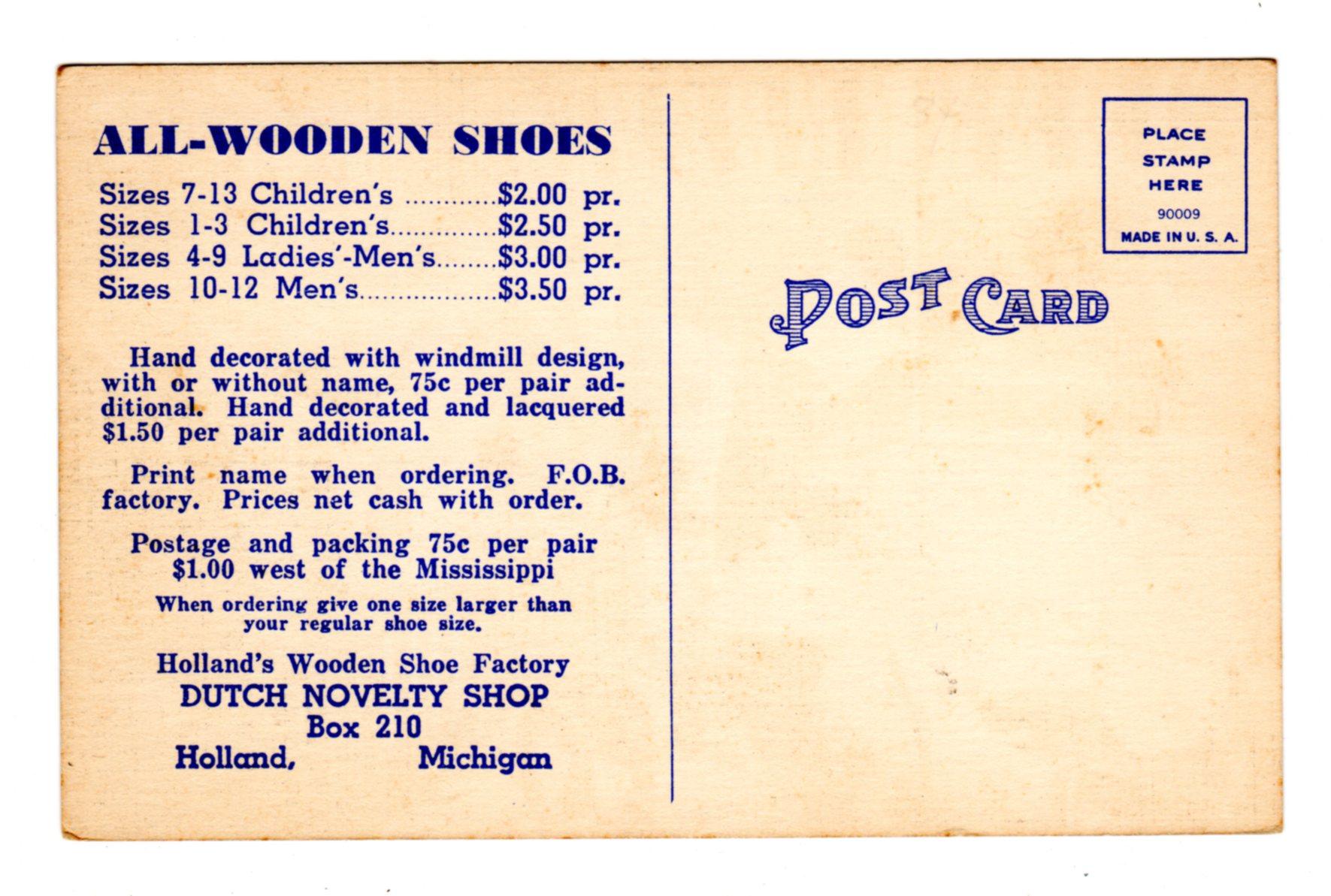 Linen Postcard All Wooden Shoes Hollands Wooden Shoe Factory Dutch Novelty Shop Holland Michigan