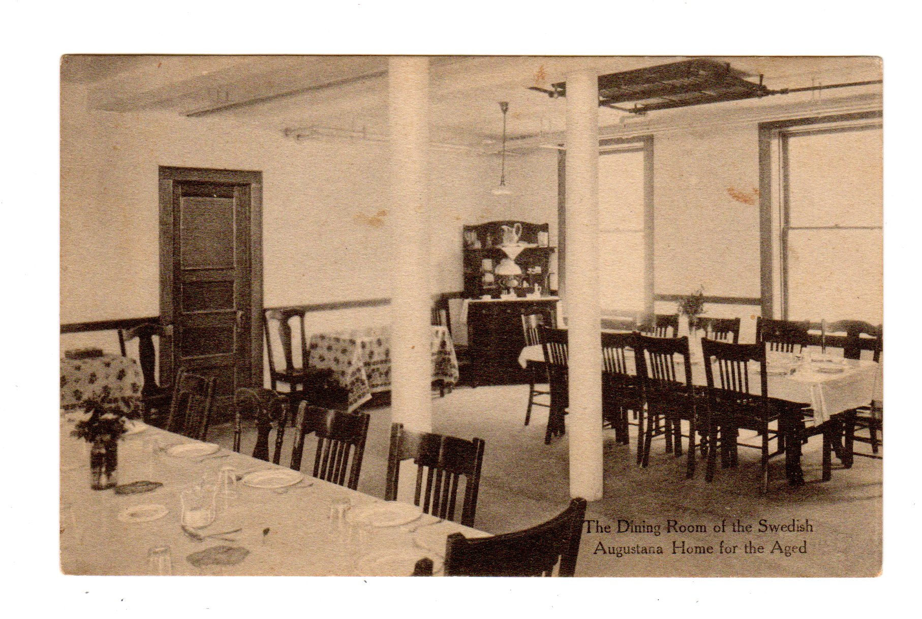 Old postcard. The Dining Room of the Swedish Augustana Home for the ...