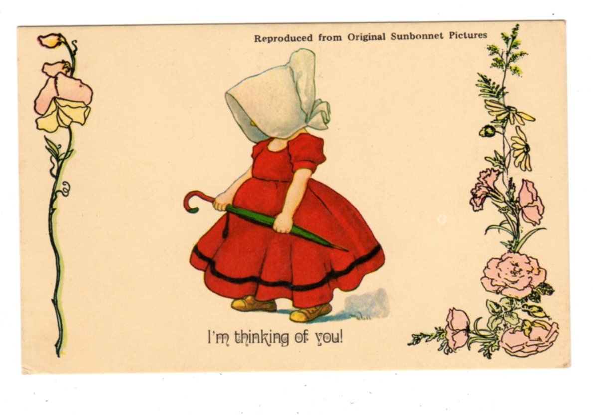 Postcard  I'm thinking of you  Sunbonnet Sue  Reproduction