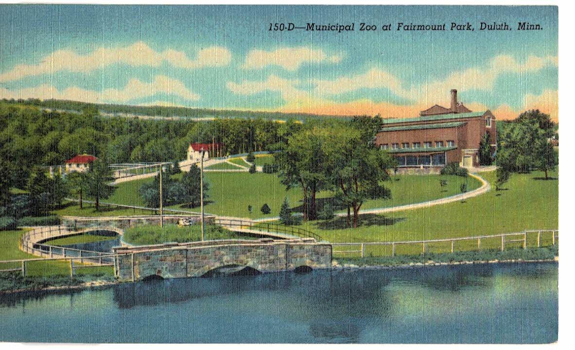Linen postcard  Municipal Zoo at Fairmount Park, Duluth, Minnesota