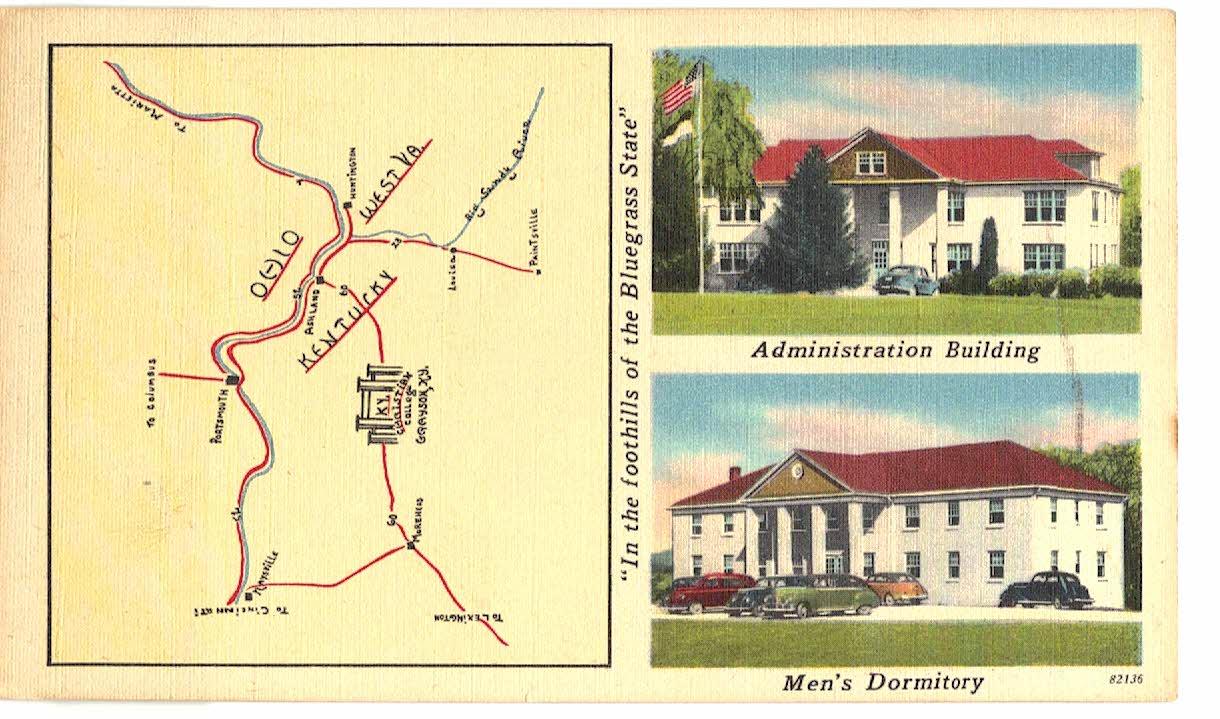 Linen postcard. Kentucky Christian College, Grayson, Kentucky. J Lowell  Lusby President. Administration Building Men\'s Dormitory, Map.